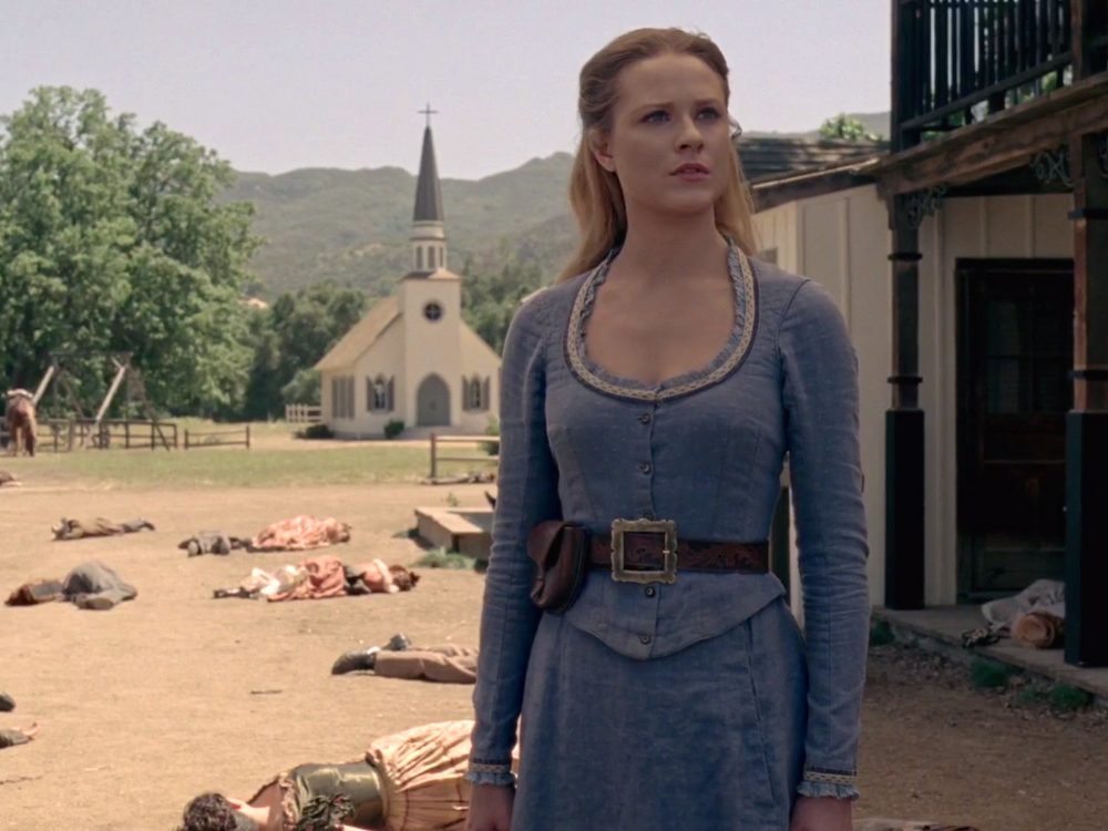 Dolores-Abernathy-in-Westworld on Paramount Ranch set in Los Angeles