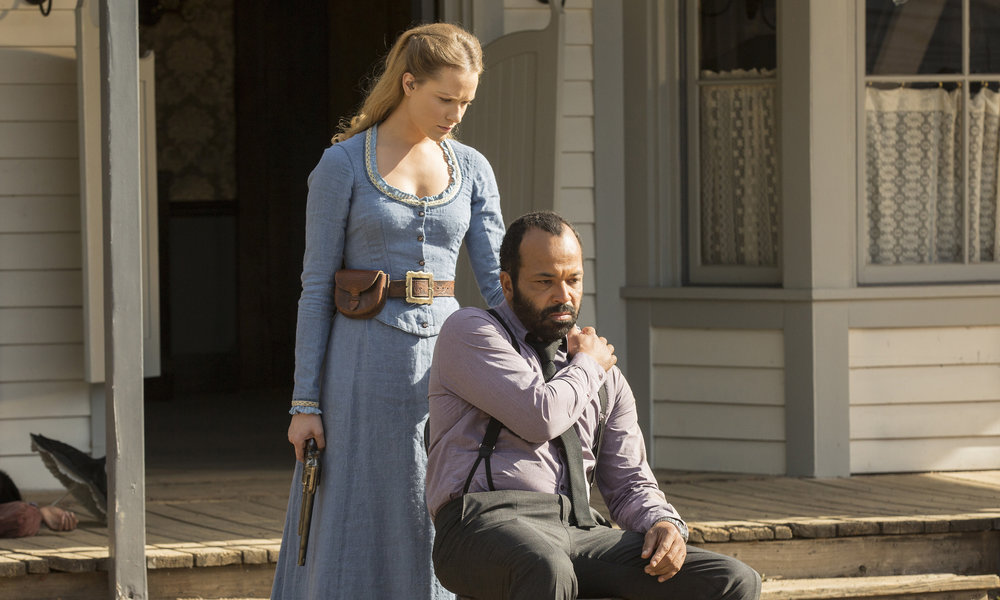 Westworld scene at Paramount Ranch Dolores and Bernard