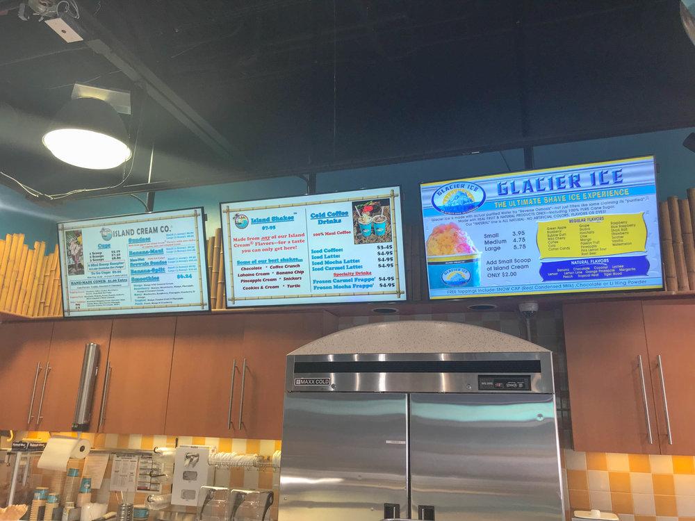Maui Island Cream Company Menu