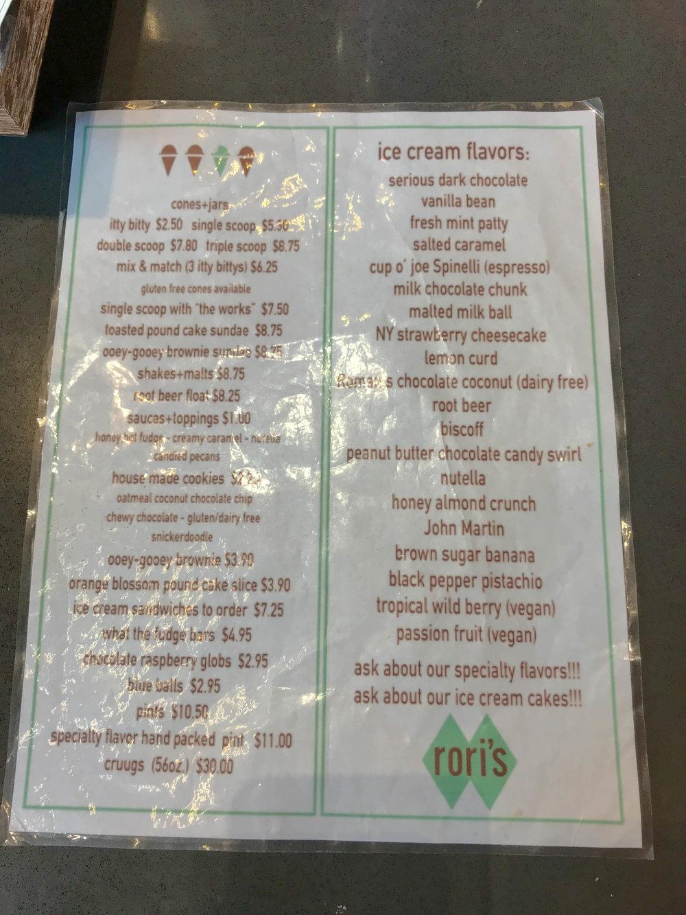 Rori's Artisinal Creamery - Ice Cream Menu