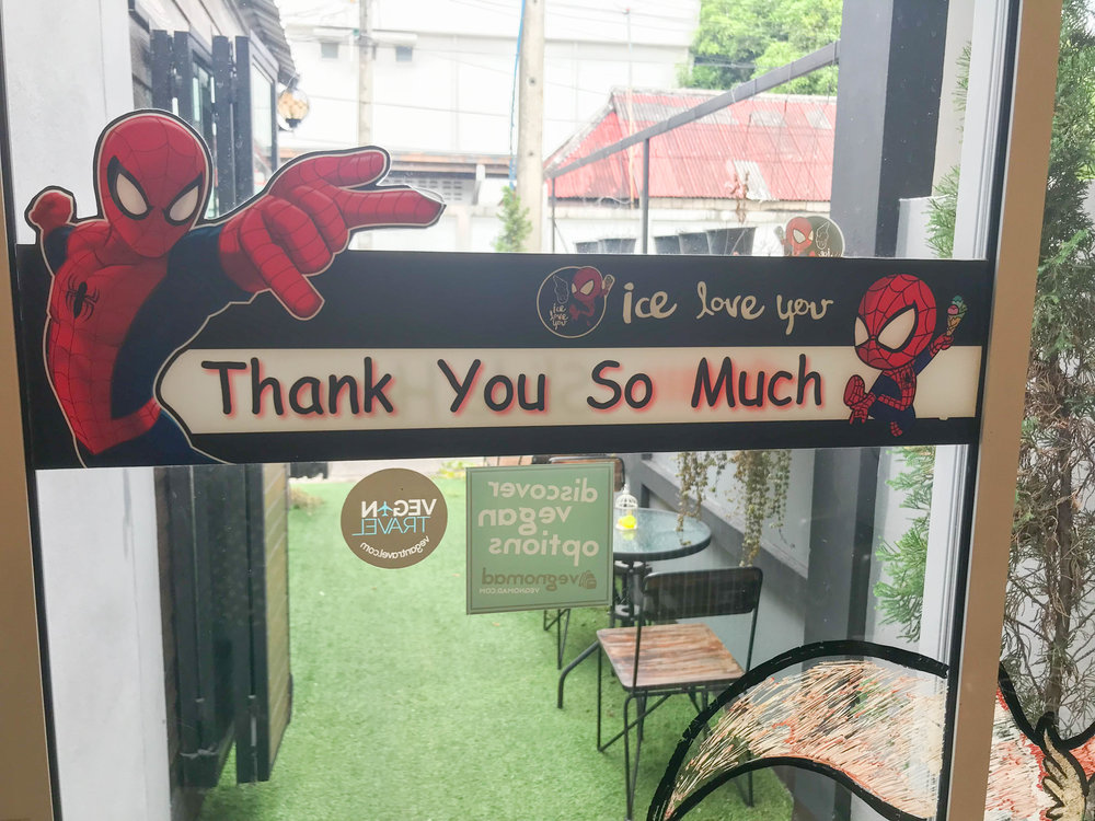 Ice Love You Chiang Mai Ice Cream - thank you so much Spiderman