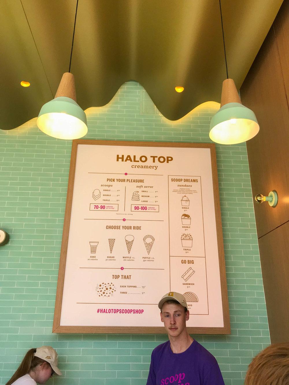 Halo Top Scoop Shop - menu Century City