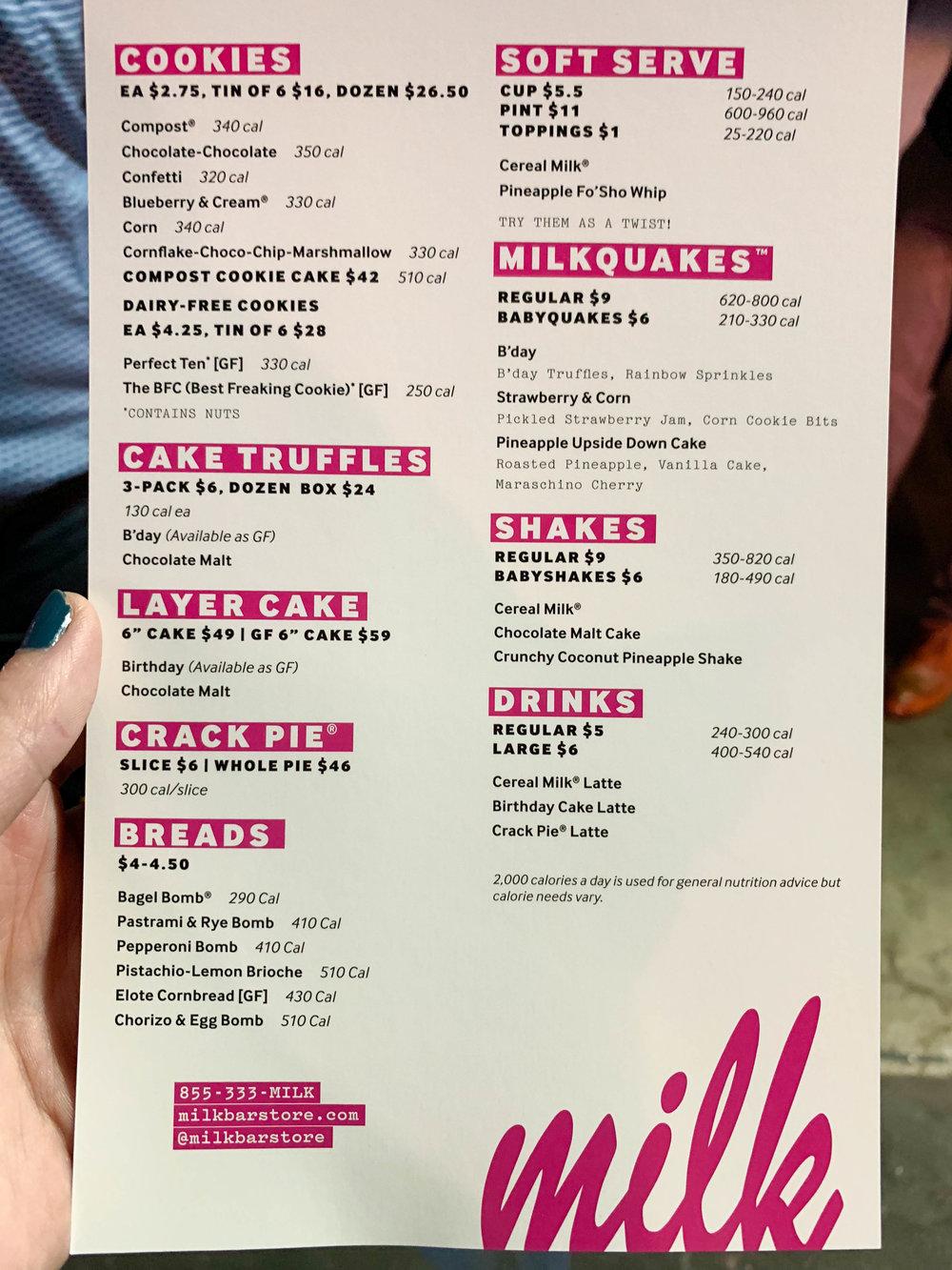 Milk Bar LA - menu