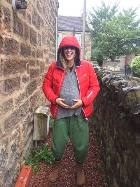 Me high as a kite ready for the labour walk to bring baby home!