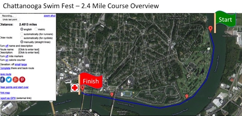 2.4 mile downstream swim with an in-water start adjacent to the Chattanooga Golf & Country Club and an in-water finish under the Market Street Bridge.