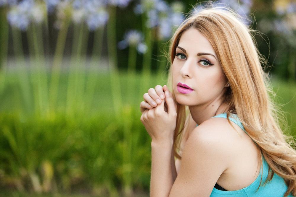 Beautiful Outdoor Head Shot with Rose Pierce Portrait
