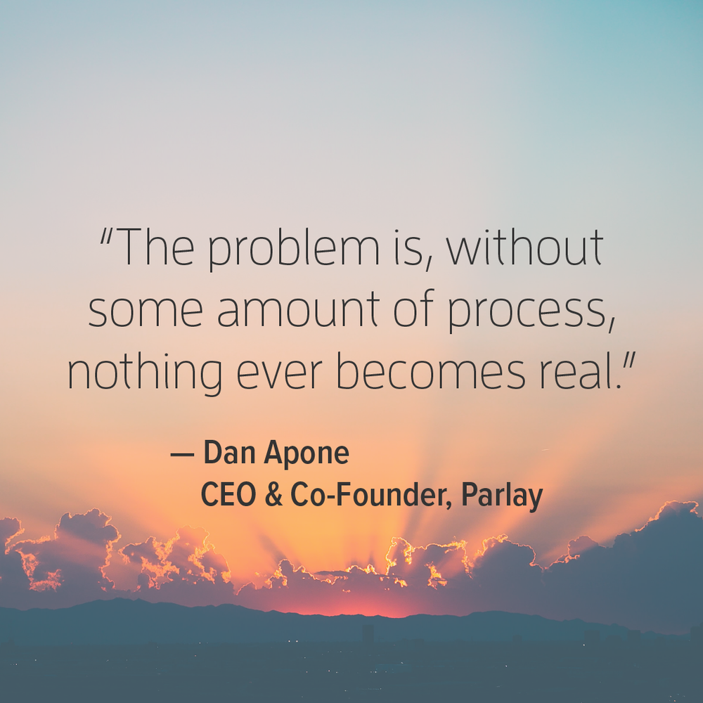 Innovation motivational quote by CEO and Co-founder of Parlay, Dan Apone.
