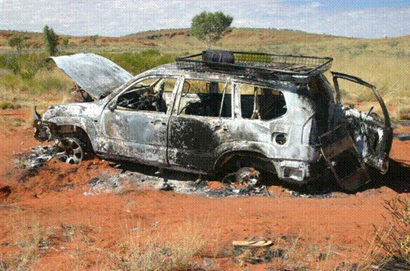 Burnt-out Prado, was someone's pride and joy.