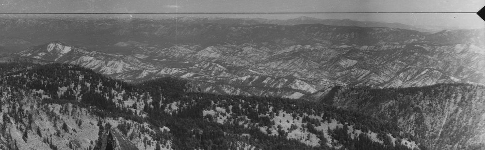 Chumstick Watershed, view from Icicle Ridge -  1934 Photographer:  Reino R.  A Forest Adapted: Note the gaps and clumps in vegetation resulting from a natural fires.  Courtesy of:  National Archives and Records Administration, Seattle, Washington