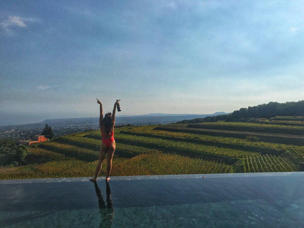Poolside wine-side at Barone di Villagrande