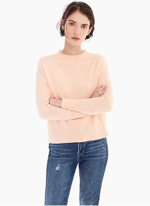J. Crew  - Everyday Cashmere Ribbed-neck Sweater $63.99 (select colors - orig. $128) + 40% off with BIGSALE