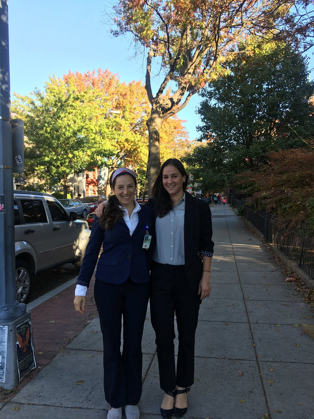 Pantsuit sisters Jane and Anjali.