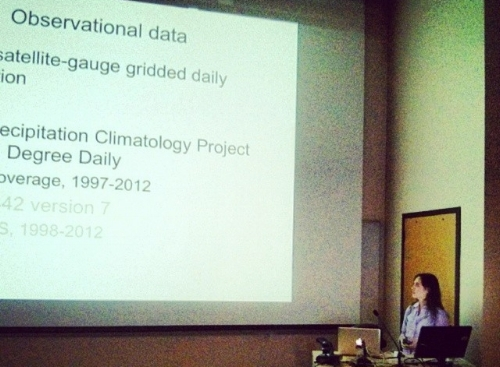 Angie in action, defending her Ph.D. thesis.