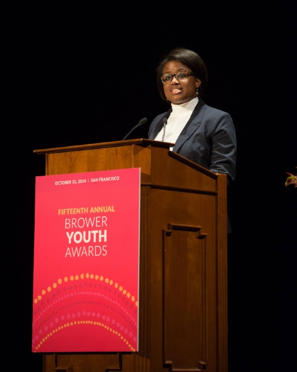 Tiffany accepting the 2014 Brower Youth Award. You can watch her acceptance speech along with a profile on her work.