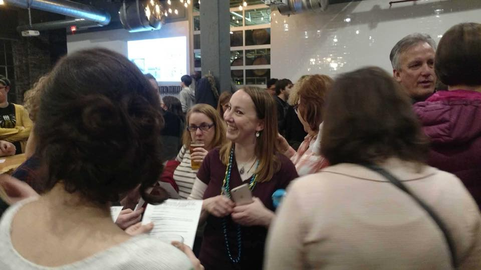 Rachael as scavenger hunt clue at Beer with a Women Scientist event