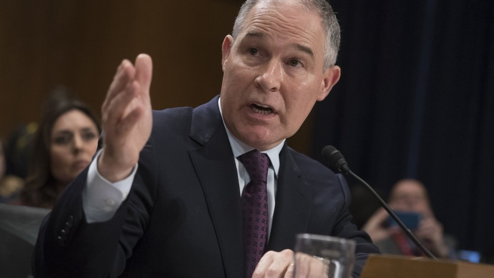 Scott Pruitt, the new head of the Environmental Protection Agency, testifies Jan. 18 at his confirmation hearing before the Senate Environment and Public Works Committee 500womenscientists