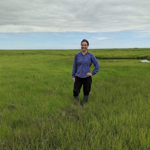 Jewel in 2018, doing graduate research at her salt marsh study site.