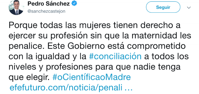 The President of the Government of Spain supports the campaign on Twitter.
