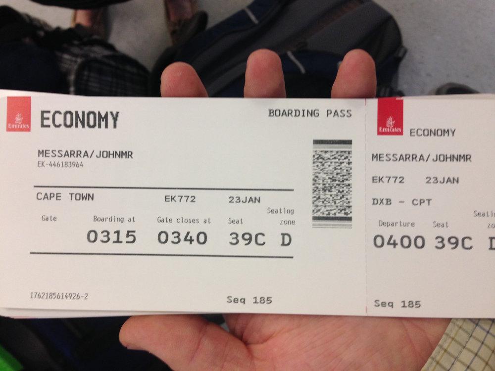 Houston to Dubai; Dubai to Cape Town.