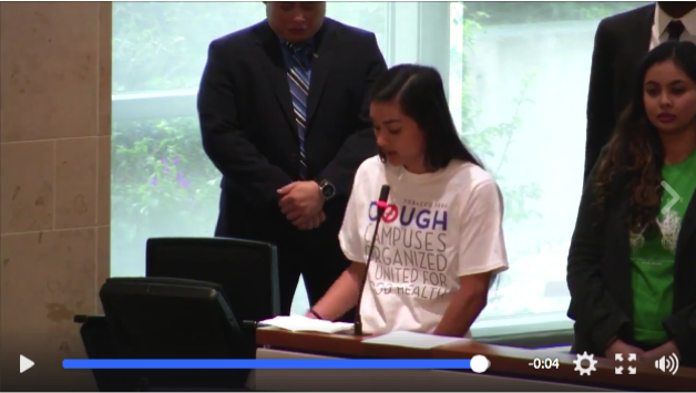 COUGH Student Advocate, Alyssa Juguilon, asks the CSU Chancellor's Office to Adopt a systemwide smoke and tobacco-free policy.