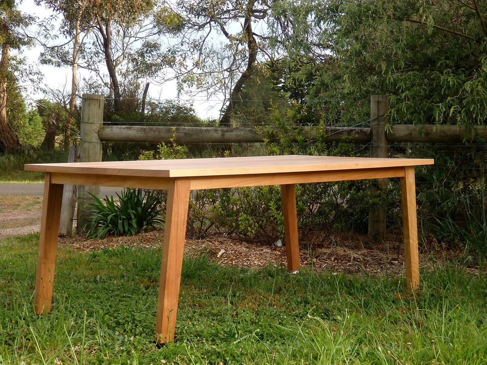 al and imo handmade furniture, recycled timber dining table. Melbourne, Surf Coast, Victoria, Australia