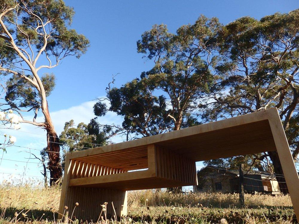 al and imo handmade furniture, plywood coffee table. Melbourne, Surf Coast, Victoria, Australia