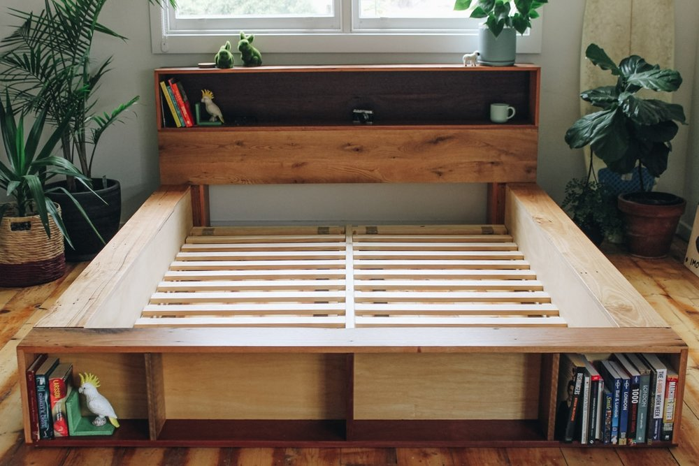 queen size timber platform bed with shelves
