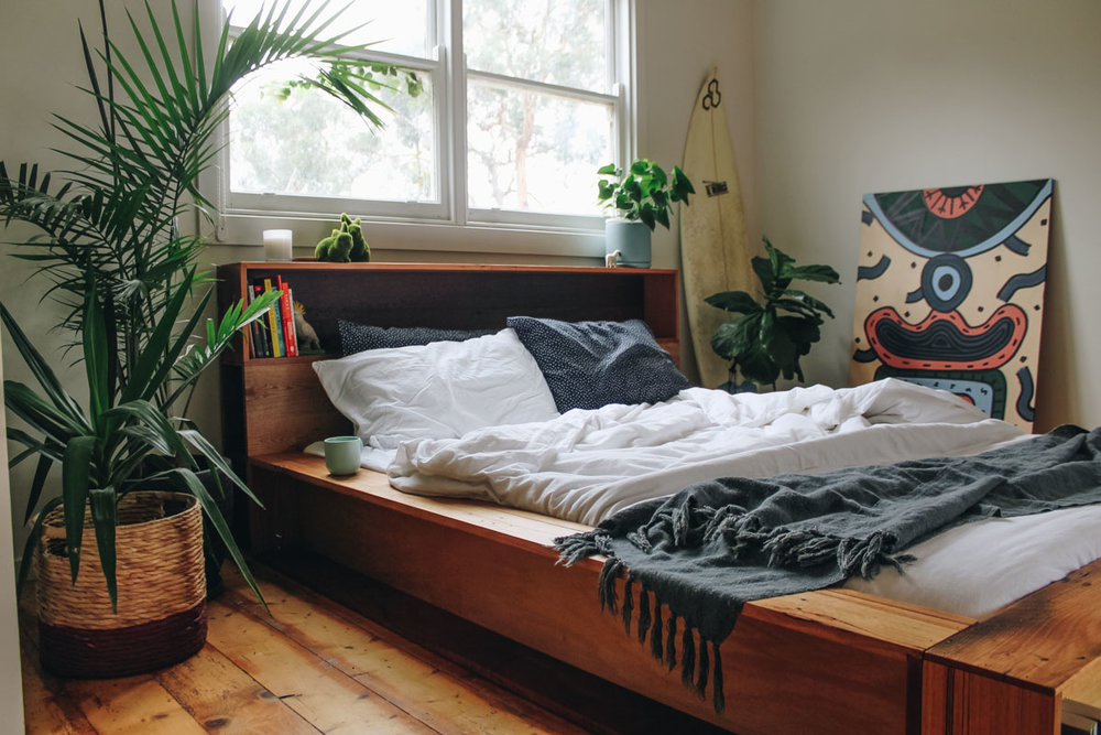Platform bed with shelving made out of recycled timber, custom made by Al + Imo in Australia