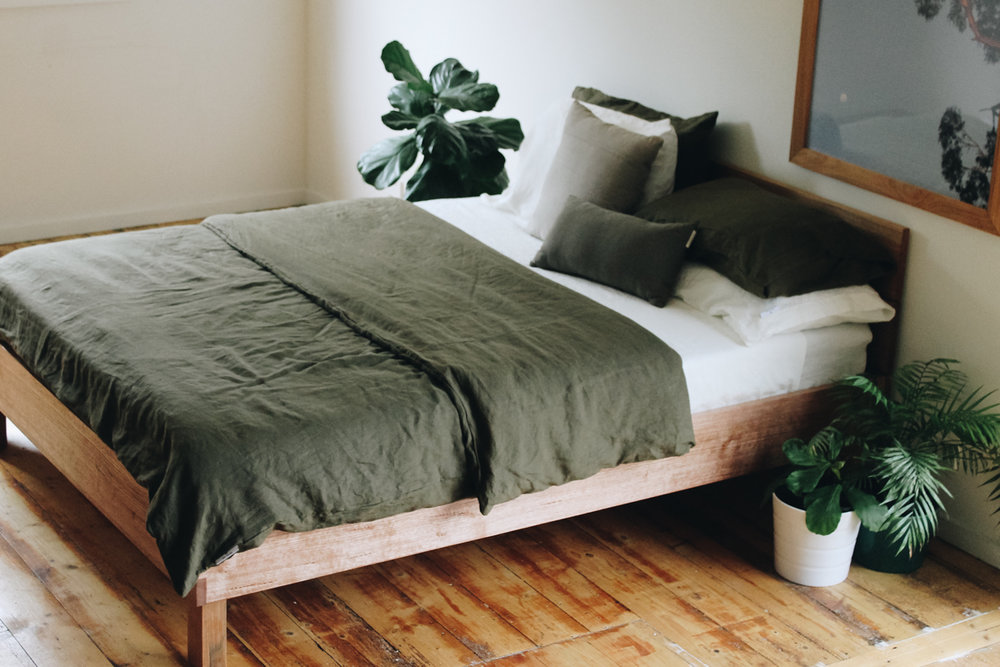 custom designed Queen size bed made out of recycled vic ash by al and imo handmade Melbourne