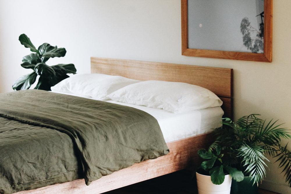 Finger join detailing on handmade timber bed