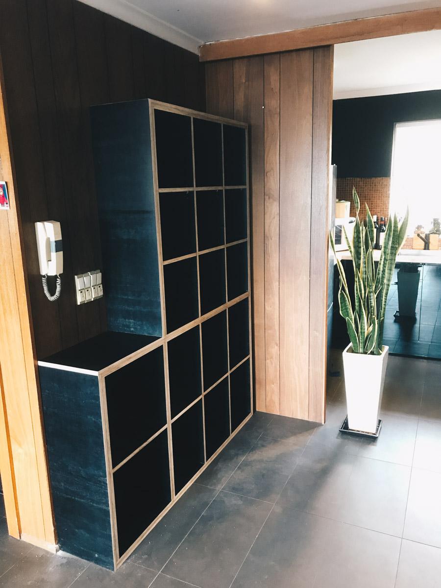 Al and Imo custom made black plywood shelving cabinetry melbourne, surf coast australia.jpg