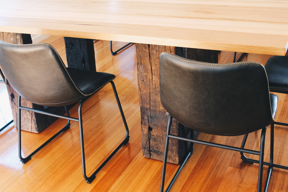 Dining table featuring recycled railway sleeper legs