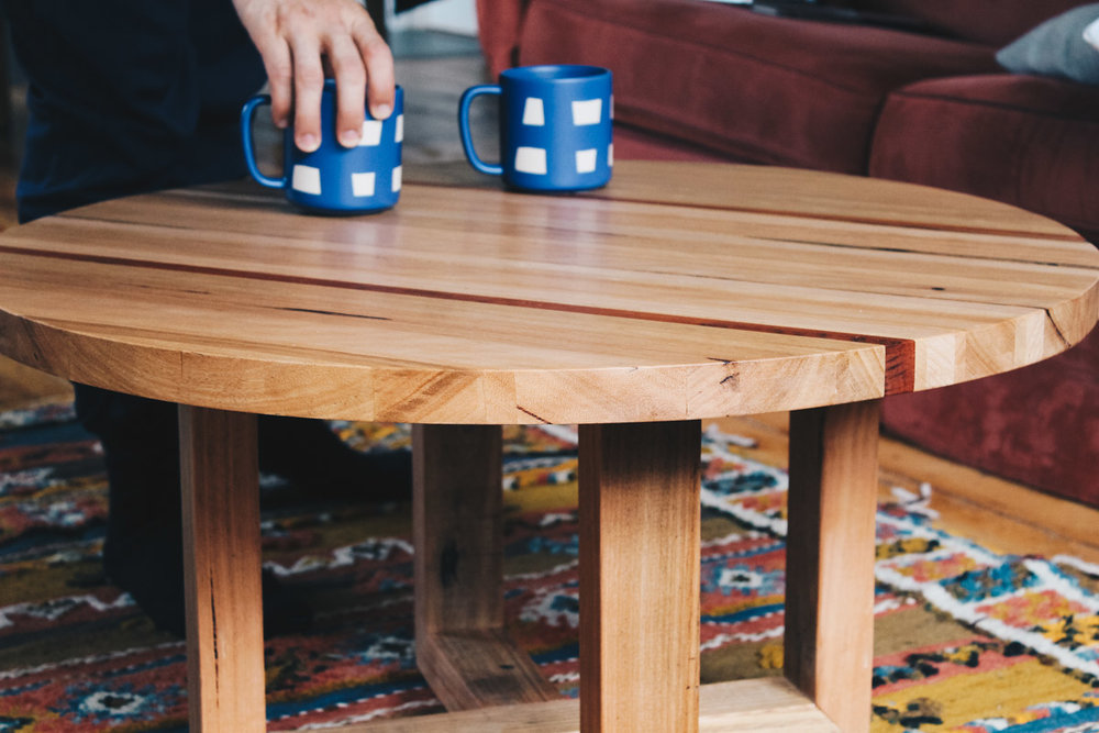 handmade recycled timber coffee table
