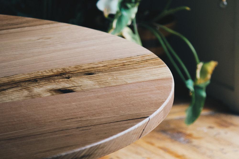 Al and Imo Handmade custom round timber dining table 160cm diameter with cross legs. Melbourne_-14.jpg