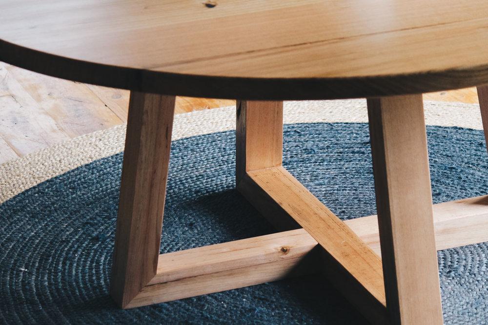 Al and Imo Handmade custom round timber dining table 160cm diameter with cross legs. Melbourne_-13.jpg