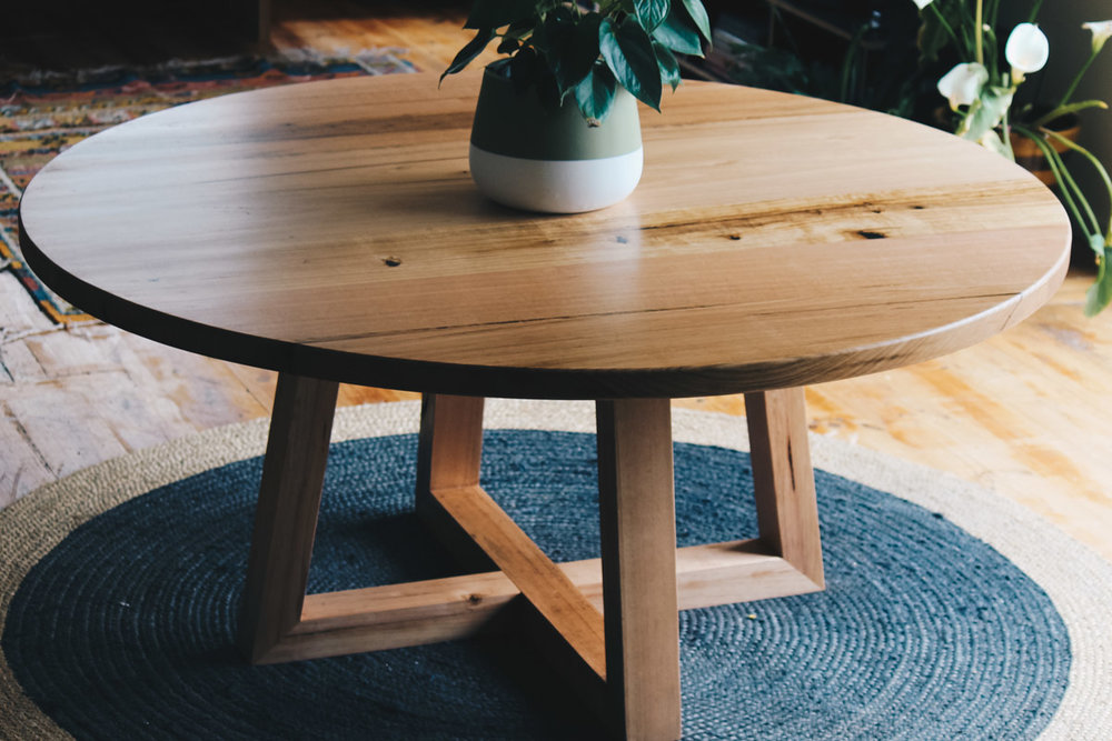 Al And Imo Handmade Custom Round Timber Dining Table 160cm Diameter With  Cross Legs. Melbourne_