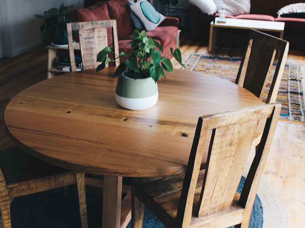 Al and Imo Handmade custom round timber dining table 160cm diameter with cross legs. Melbourne_-20.jpg