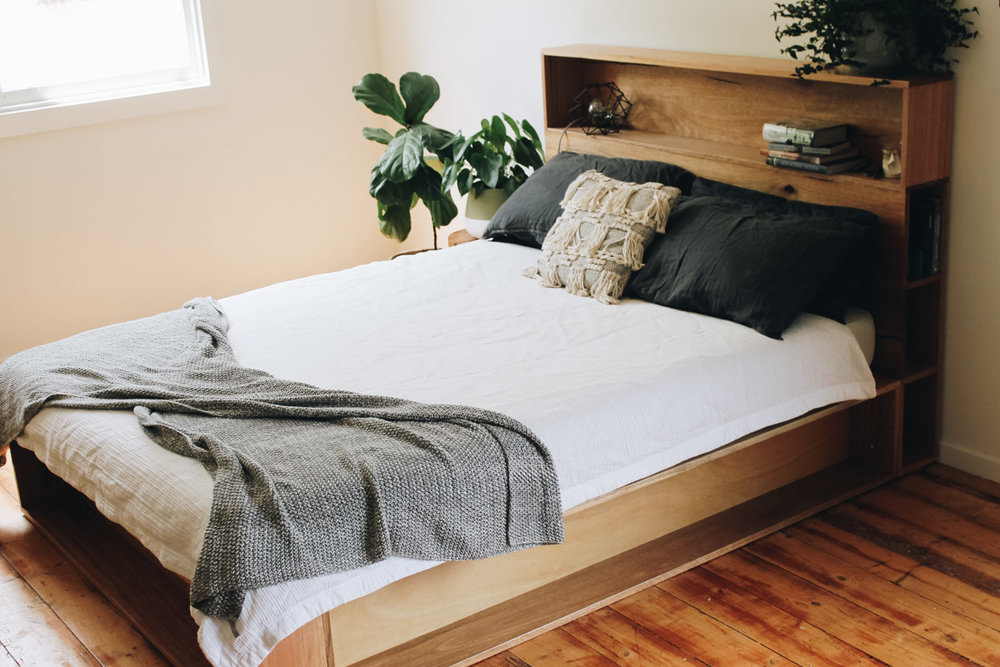 al and imo handmade timber platform bed frame with bookshelf bed head (11 of 25).jpg