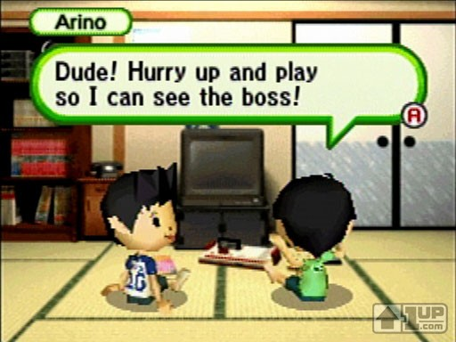 The dialogue between your character (left; can be male or female, too, to boot) and the young Arino takes you back to childhood thoughts on gaming. Image from 1up.com.