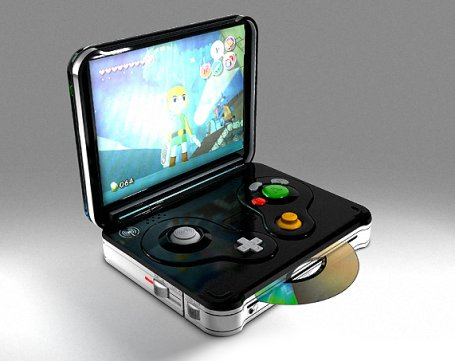 This is really an outlandish mod/fake concept model -- but a portable GameCube sure would be wonderful