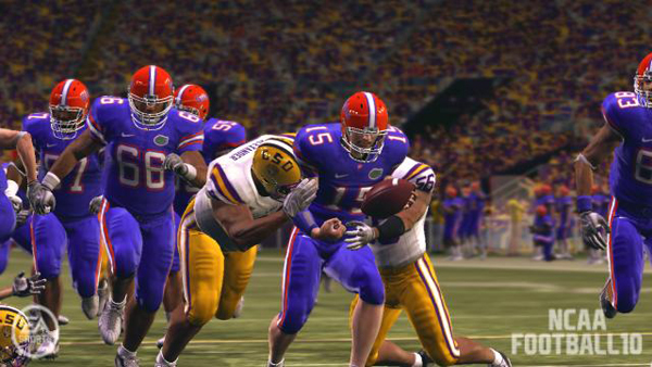The tackling technology in NCAA 10 has been rebuilt, allowing strong runners (like Florida's esteemed starting quarterback) to drag defenders for extra yardage, or even break free.