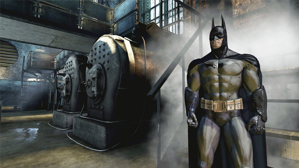 Batman broods in a cloud of industrial steam: something he does quite well