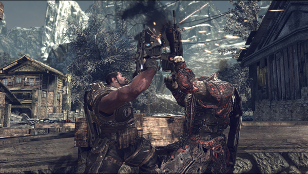 Many aspects of Gears of War and Gears of War II's storyline rotate around the game's level design, crafting the story around what the designers want the gamer to experience. The chainsaw duel, however, is just badass.