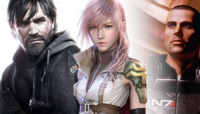 The heroes from just a few of the major releases coming in the next few months: Sam Fisher (Splinter Cell: Conviction), Lightning (Final Fantasy XIII) and Shepard (Mass Effect 2).