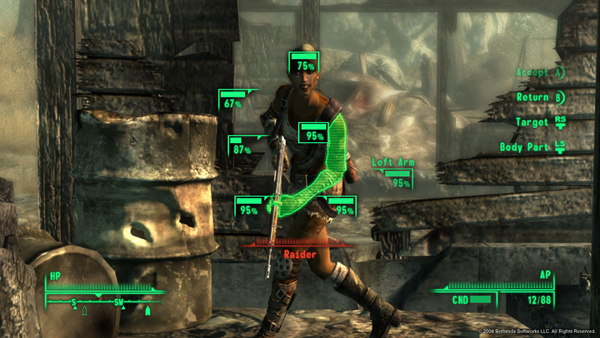 Doug has been getting quite comfortable with VATS in Fallout 3. The Bloody Mess perk is purely optional, however.