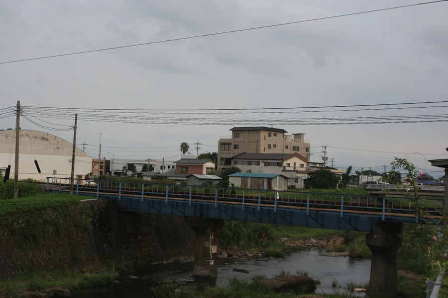 The train line running through town.