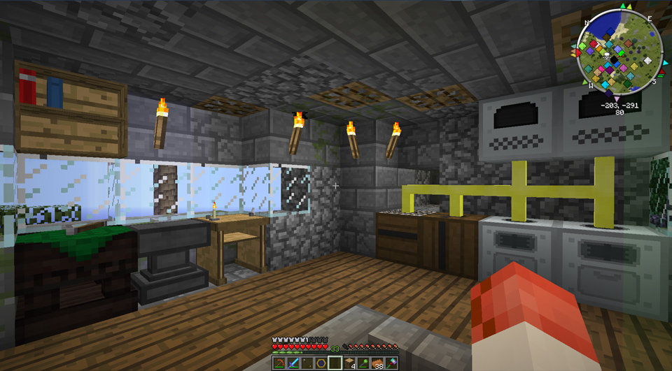 Okay, I know what the torches are. And the… cobblestone?
