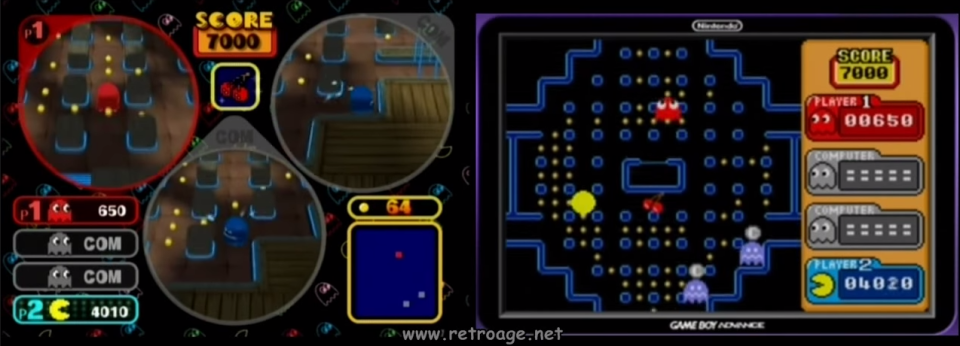 Pac-Man Vs. GBA and GCN mode — screencap taken from YouTuber tbxx