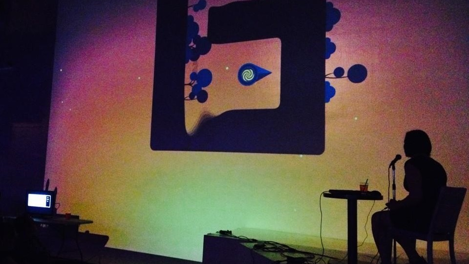 The Floor Is Jelly   by   Ian Snyder  , as performed at Invisible Arcade, Seattle, July 29th. Photo by   @shehexic  .