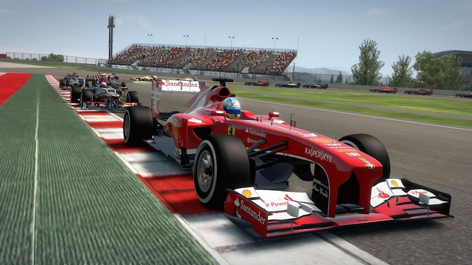 Fernando Alonso out front in the Ferrari in F1 2013, followed by the black and gold Lotus